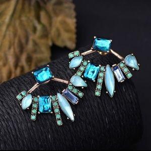 🌴NEW Blue CZ Crystal Double Sided Earrings